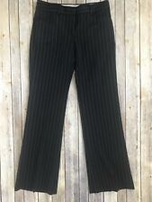 Theory Women's Black and Gray + Blue Stripe Dress Straight Leg Pants - Size 4