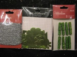 BNIP Glitter pegs & Foil accent chipboard embellishments from docrafts