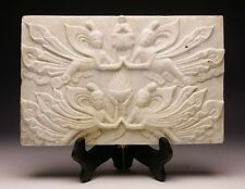 """11.9"""" Beautiful Old Chinese White Marble Sculpture Mural """"Flying Fairy & Buddha"""""""