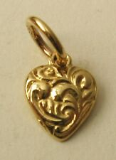 GENUINE SOLID 9K  9ct YELLOW GOLD SMALL ORNATE HEART CHARM/PENDANT