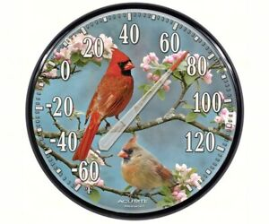 """AcuRite Indoor and Outdoor Thermometer Cardinals in Dogwood 12.5"""""""