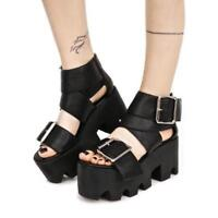 Punk Women Roma Chunky Heels Platform Gothic Buckle Strap Open Toe Sandals Shoes