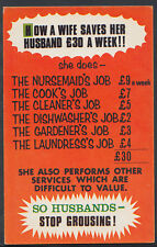 Comic Postcard - Husband / Wife / Chores / Household Jobs / Wages   T3