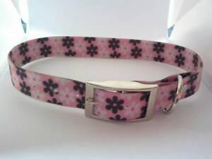 Pink flower print pvc dog collar medium size