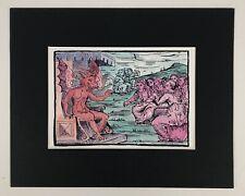 Occult Woodcut watercolor art painting original artist's print 'Demon's Court'