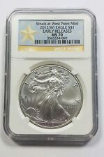 Struck At West Point Mint 2012 W EAGLE Silver Dollar Early Releases NGC Star