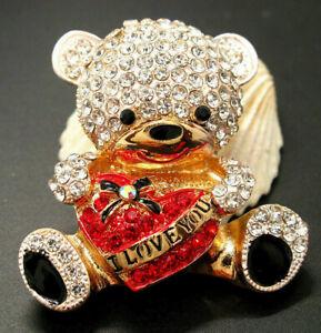 TEDDY BEAR Valentine HEART Rhinestone Betsey Johnson Necklace Pendant Brooch