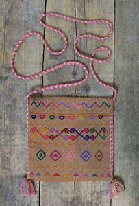 Sm Mexican Bag Morral Mayan Gold & Gray Larrainzar Hand Woven on Backstrap Loom