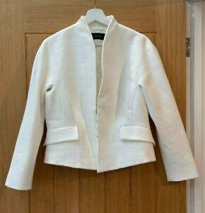 KAREN MILLEN LADIES WOMENS PURE WHITE TAILORED CROPPED BOLERO SUIT JACKET 14 16