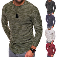 Men's Slim Fit Knitted Long Sleeve Muscle Sport Tee T-shirt Casual Tops Shirt US