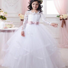 Long Sleeve Flower Girl Dress Communion Party Prom Princess Pageant First Holy