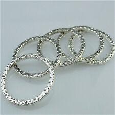 13613 20PC Alloy Vintage Silver Tone Round Circle Blank Circle Connector Pendant