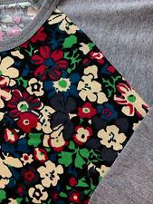 LuLaRoe Randy Baseball Shirt Size Large Floral w/Gray Sleeves 3/4 Sleeves