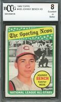 1969 Topps #430 Johnny Bench Card BGS BCCG 8 Excellent+