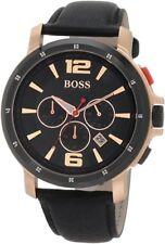 Hugo Boss Mens 1512599 chronograph black dial rose gold case black leather Watch