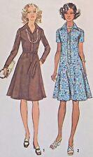 """CUTE Vtg 1970s Simplicity 6155 Sewing Pattern 36"""" Shirt Dress Shirtwaist Button"""