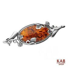 COGNAC BALTIC AMBER STERLING SILVER 925 JEWELLERY BEAUTY PIN-BROOCH, KAB-322 B