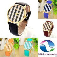 Markenlose Quarz - (Batterie) Armbanduhren mit Kunstleder-Armband für Damen