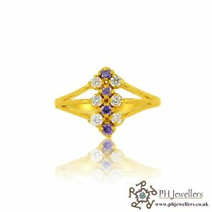 22ct 916 Hallmark Indian Yellow Gold Ring with Amethyst CZ stones Size O SR125