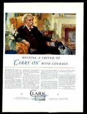 1931 English Setter and man art Clark grave vault coffin vintage print ad