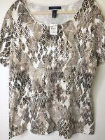 Karen Scott Women's Almond Khaki Geometric Pattern PLUS Shirt Top NWT 1X B55