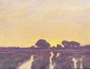 Twilight Tonalist Wetlands Impressionism Art Oil Painting Landscape Sunset Gold