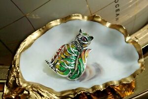Sterling Silver French Art Nouveau Plique-a-jour ruby, marcasite Cat Brooch 8.1g