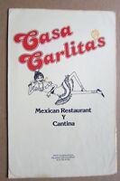1970s Casa Carlitas Mexican Restaurant Y Cantina Menu, Hayward, CA