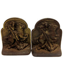 2 x Vintage Cast Iron Metal Book Ends Stops