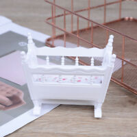 Dollhouse miniature white wooden baby rocking cradle crib nursery room furniture