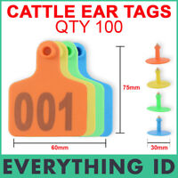 100 LARGE 75MM LENGTH COW CATTLE PLASTIC NUMBERED LIVESTOCK MANAGEMENT EAR TAGS
