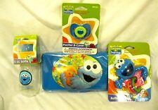Sesame Street Cookie Monster Infant Bottle,Pacifier,Wipers Travel Case,& Rattler