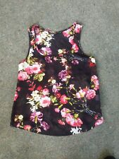 INTERNACIONALE Sheer Black Loose Fitting Floral Sleeveless TOP size 10