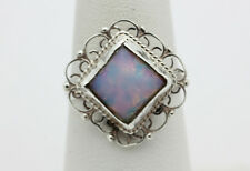 Sterling Silver .925 Scalloped Edge Dichroic Glass Fashion Adjustable Ring i938