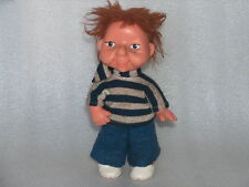 Rare Vintage Plastic And Rubber Doll In Original Costume - Boy, Germany- Gdr/Ddr