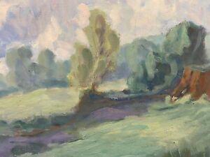 BARBARA DOYLE (B.1917) 1970'S MODERN BRITISH PAINTING -  GREEN FIELDS LANDSCAPE