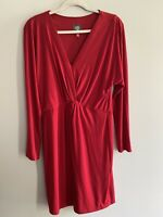 Vince Camuto Size 12 Red Long Sleeve Dress V Neck