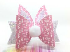 "Easter *ANY NAME* Bunny Ears And Tail - 1 X Personalised Hair Bow And Ears 4"" P"