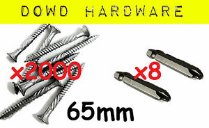 65mm 2000 Stainless Coated Decking Screws 10G Gauge 65mm Bugle Professional