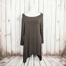 COMFY USA Women's Asymmetrical Tunic Blouse Tan Black Striped Size Small