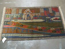 3' X 5' New Vintage Hand Made Afghan Balouch Tribal Wool Pictorial Rug # 578