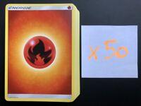 Lot de 50 Cartes Pokemon Francaises ENERGIE FEU Soleil et Lune NEUF