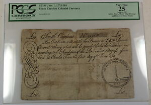 1775 10 Pounds South Carolina Colonial Currency SC-99 PCGS VF-25 Apparent