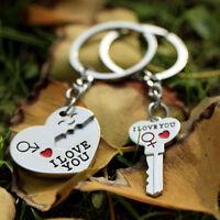 New I Love You Heart  Arrow Key Couple Keychain Ring Keyring Keyfob Lover Gift