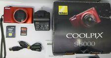 Nikon COOLPIX S8000 14.2MP Digital Camera - Red + 8 GB Memory Card