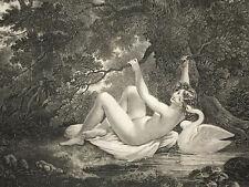 Leda GRAVURE Prud Hon DEVERIA Garnison CURIOSA Erotique Cygne Mythologie XIX°
