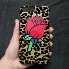3D Cute Rose Flower Leopard Back Hard Case Cover for Apple Samsung LG HTC Huawei