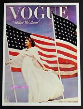 VOGUE FASHION MAGAZINE COVER POSTER JULY 1942 UNITED WE STAND TONI FRISSELL ART!