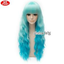 Lolita Party Women Long Mixed Blue Curly Hair Cosplay Bang Ombre Synthetic Wig