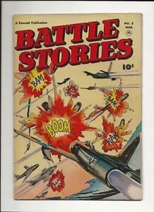 BATTLE STORIES #2 1952 FAWCETT GOLDEN AGE WAR COMIC FN
